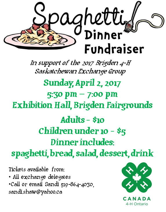 4-H Exchange Spaghetti Fundraising Dinner 2017