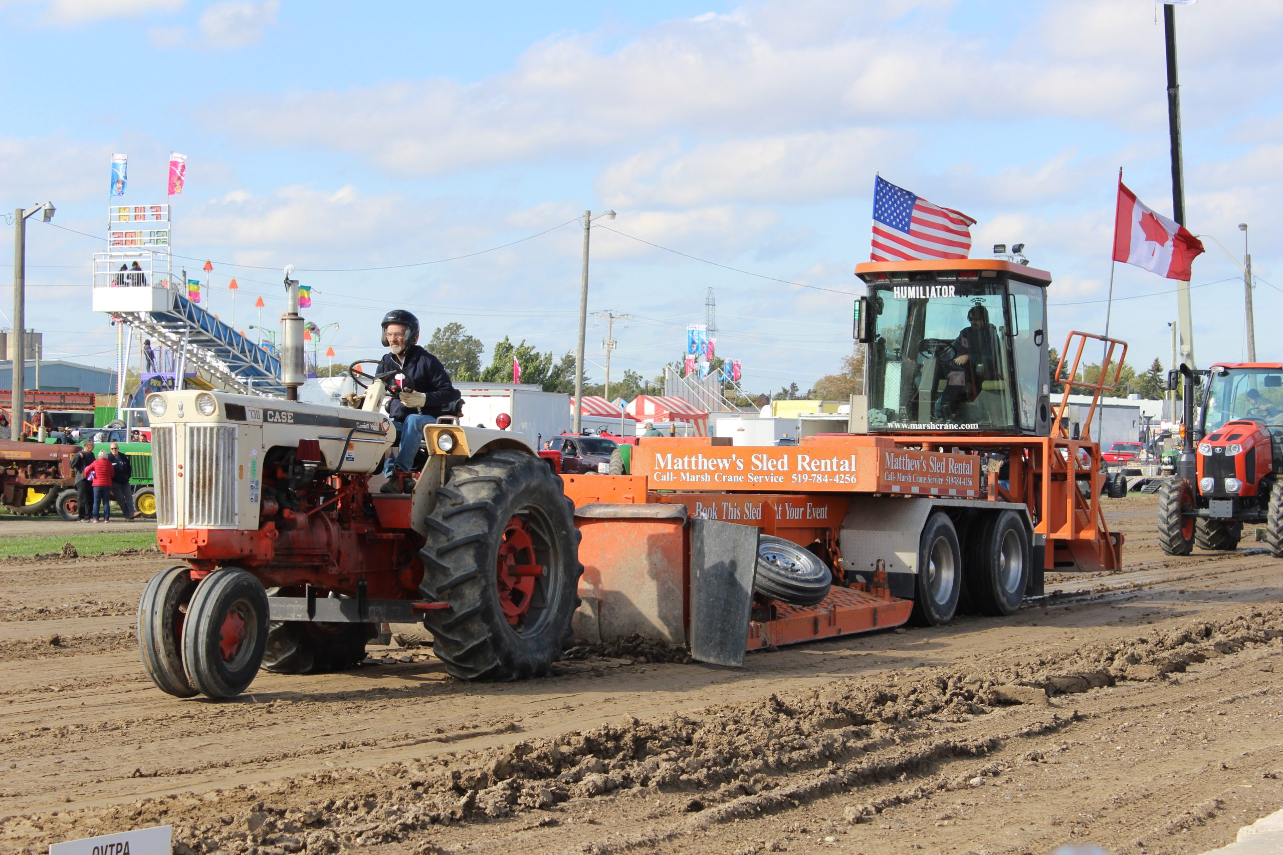 Tractor pulling sled
