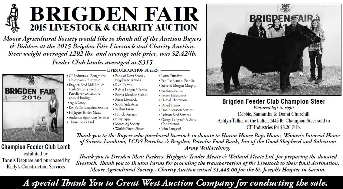 2015 Livestock and Charity Auction Thank You